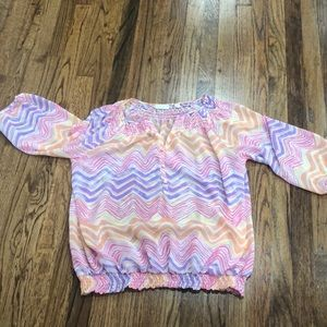 Sheer blousy colorful blouse